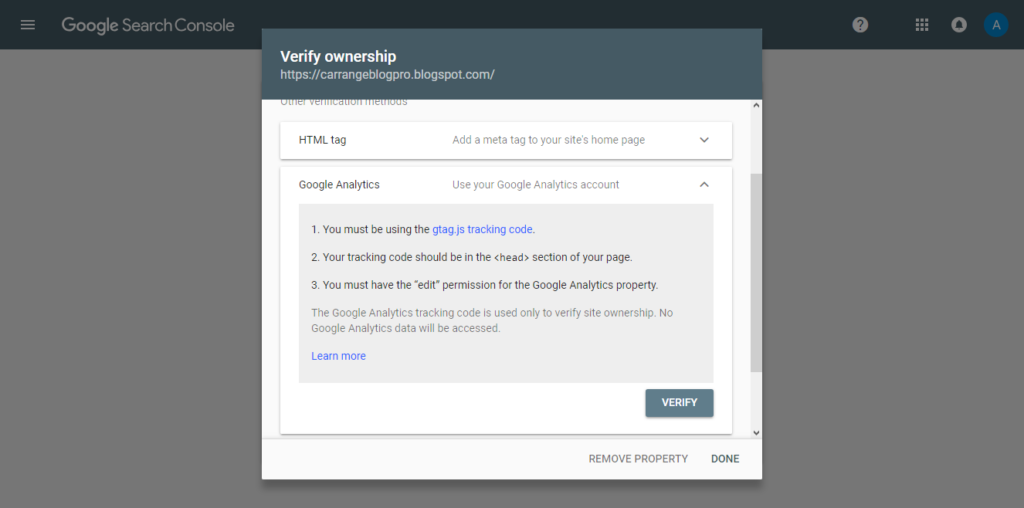 Google Search Console: Verifikasi dengan Google Analtytics