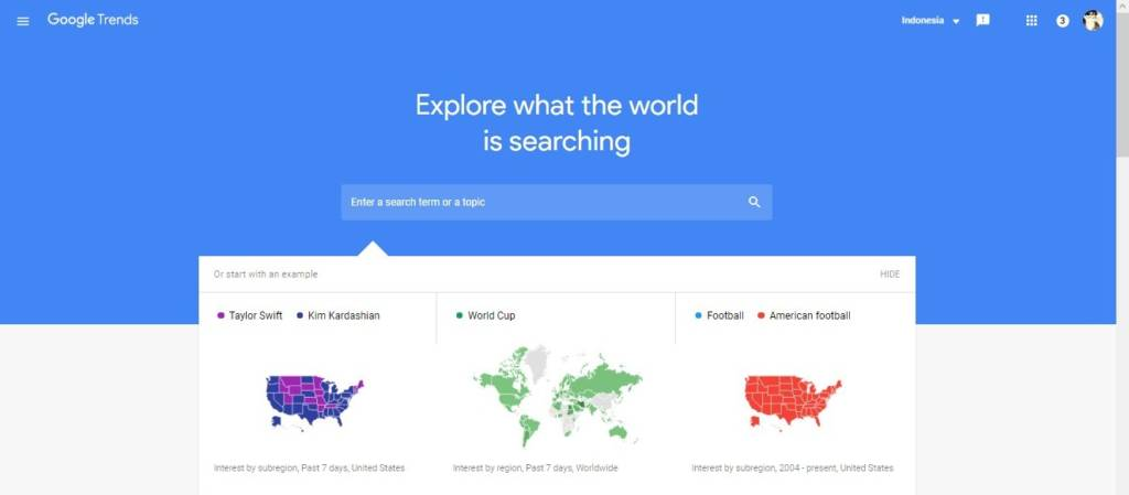 Google Trends interface