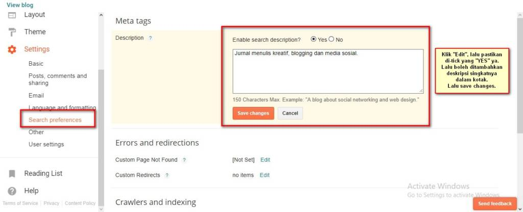 Setting meta search description di Blogspot